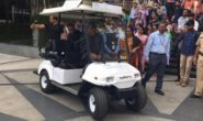 Automation : Infosys CEO arrives in driverless golf cart for meeting